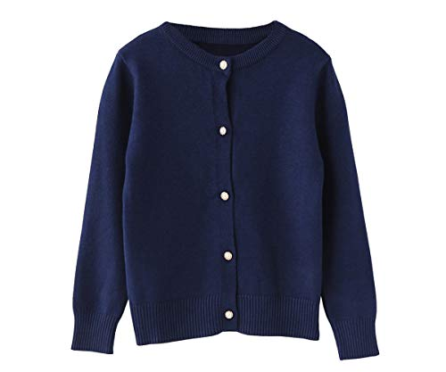 SMILING PINKER Little Girls Crewneck Cardigans Button Knitted Uniform Sweaters Solid Long Sleeves(7-8 Years,Navy Blue)