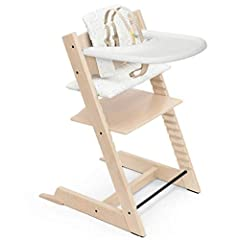 High chair set conveniently includes natural chair, baby seat with 5-point harness, sweetheart cushion and white tray Highly adjustable seat and footplate provide comfort and ergonomics from birth to adulthood Iconic design of the wooden natural high...
