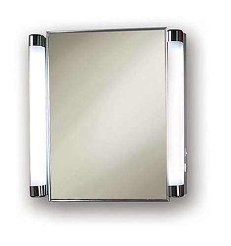 Jensen 455FL Lighted Medicine Cabinet, Stainless Steel, 20-Inch by 22-Inch