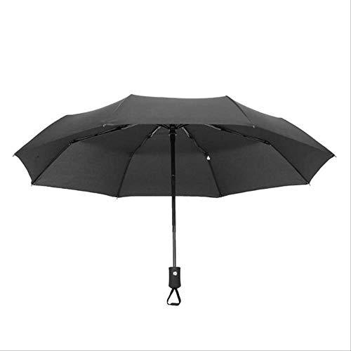 Paraguas Plegable automático para Mujer, Resistente al Viento, Paraguas Plegable de 8/10 Varillas 8 Ribs Black 32 cm