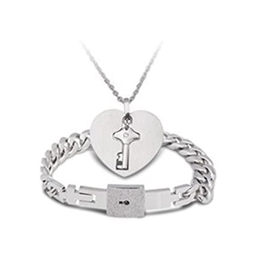DBSUFV Pulsera con candado de corazón y Collar con Llave Par de Pulseras Masculinas Collar Femenino Pulseras Collar de Pareja Pulsera Joyería