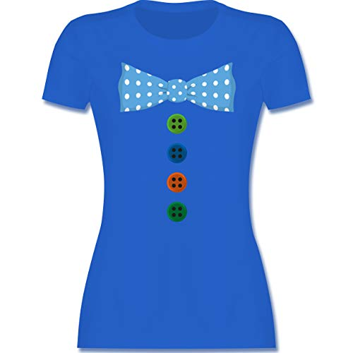 Karneval & Fasching - Clown Kostüm Blaue Fliege - M - Royalblau - Clown t-Shirt - L191 - Tailliertes Tshirt für Damen und Frauen T-Shirt