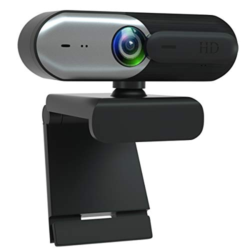 AutoFocus Full HD Webcam 1080P with Privacy Shutter - with Dual Digital Microphone - CA602 Black Grey USB Computer Camera for PC Laptop Desktop Mac Video Calling, Conferencing Skype YouTube