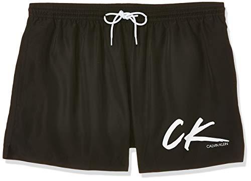 Calvin Klein Herren Short Drawstring Badehose, Schwarz (PVH Black BEH), Large