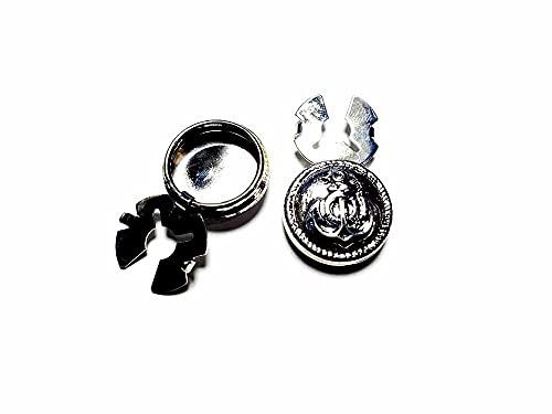 artigianale 1 par de cubrebotones de 18 mm con diseño de ancla marina Art 2 a elegir de color metal para camisas de mujer o pulseras de hombre de regalo