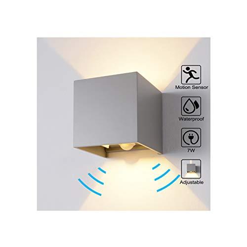 Wandleuchte Bewegungsmelder Aussen/Bewegungsmelder Innen LED Wandlampe, 7W Warmweiß Wasserdicht Verstellbare Aussenleuchte, Außenwandleuchte Sensor für Garten/Flur/Weg Veranda Hell (Grau)