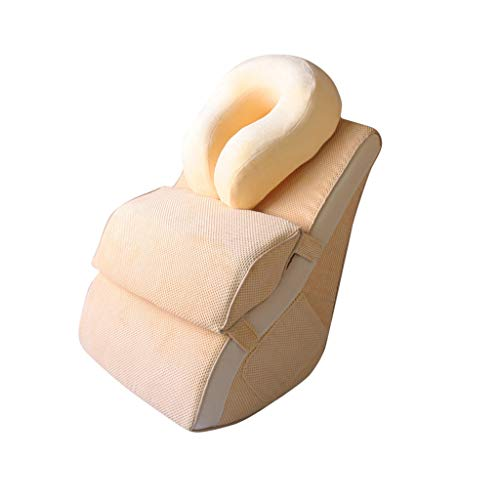 DUHUI Almohada de Lectura | El sofá Almohada | Almohada de cuña para Cama y sillón | Apoyo para la Espalda | Almohada Lumbar, extraíble (Color : Khaki-B)