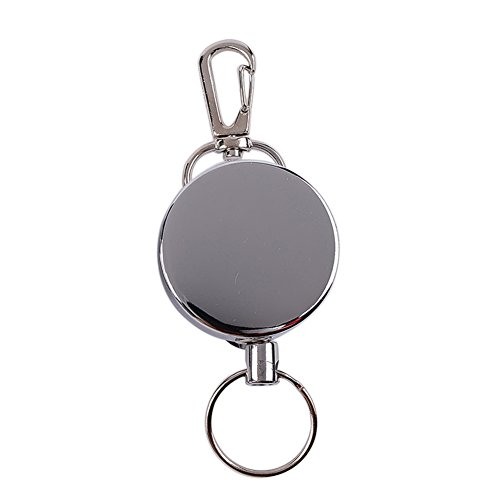 Steellwingsf Einziehbarer Schlüsselanhänger aus Stahldraht, Rückholclip, Schlüsselringhalter, Camping-Reisewerkzeug Gr. Einheitsgröße, Komplett aus Metall.