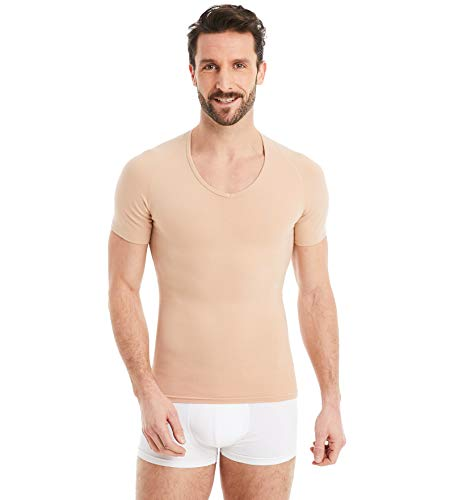 FINN figurformendes Kompressions-Unterhemd Herren - Shapewear Kurzarm Shirts mit Bauch-Weg Effekt Unsichtbare Hautfarbe Nude M
