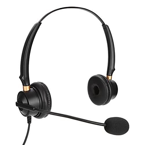 Lazmin112 Auriculares de Servicio al Cliente, H600D ‑ 2.5 ‑ MV Servicio binaural Soporte de Auriculares Ajuste de Volumen Auriculares telefónicos con micrófono con reducción de Ruido