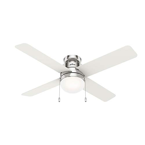 Hunter Fan Company 50363 Timpani Indoor Low Profile Ceiling Fan with LED Light and Pull Chain Control, 52, Brushed Nickel