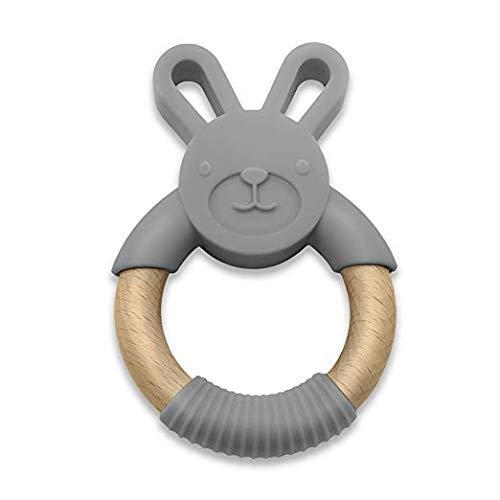 Woodbeat Baby Bunny Ring   Übungsgriff Greifling   Silikon - Holz & BPA-freier Beißring   Baby & Kleinkind Kinderkrankheiten   Beruhigen Sie das Zahnfleisch des Babys