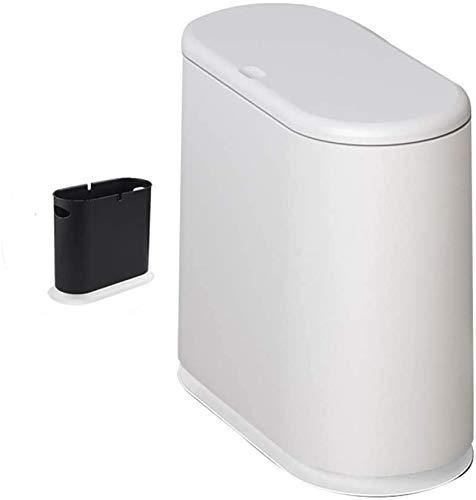 Haojie Abfalleimer für Haushalt, Wohnzimmer, Küche, nordische Fugendichtung mit Deckel, Toilette, schmaler Papierkorb, C