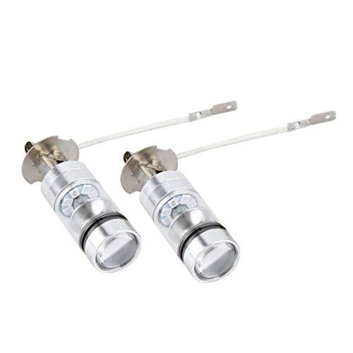 Ladieshow Kit de Bombillas LED para Faros Delanteros 2X H3 6000K Azul 100W