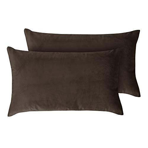 Deconovo Velvet Lumber Pillow Cover Case Decorative Super Soft Oblong Throw Cushion Covers for Chair Sofa 12x20 Inch Chocolate 2 Pieces