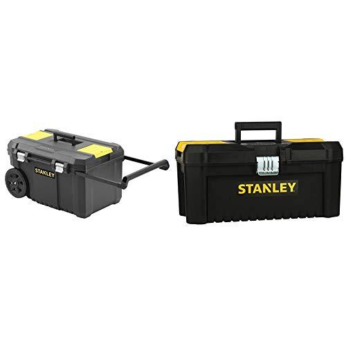 STANLEY STST1-80150 Arcón para herramientas con cierres metálicos, 66.5 x 40.4 x 34.4 cm, capacidad 40 kg + STST1-75518 Caja de herramientas de plastico con cierre metálico, 20 x 19.5 x 41 cm
