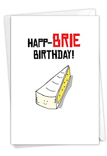 The Best Card Company - Cheese Pun Birthday Card with Envelope - Funny Congrats Birthday Celebration Gift - Birthday Puns-Brie Birthday C6119EBDG