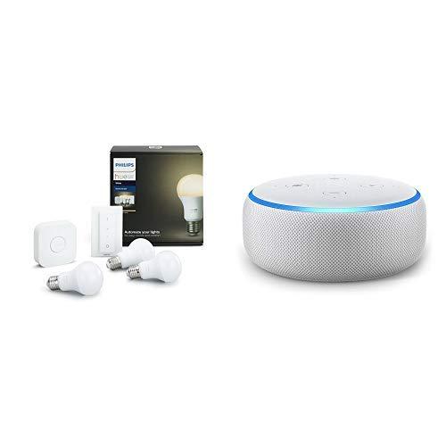 Echo Dot tessuto grigio chiaro + Philips Hue White Starter Kit con 3 Lampadine LED E27, 1 Bridge e 1 Telecomando Dimmer Switch, luce bianca calda, 9W
