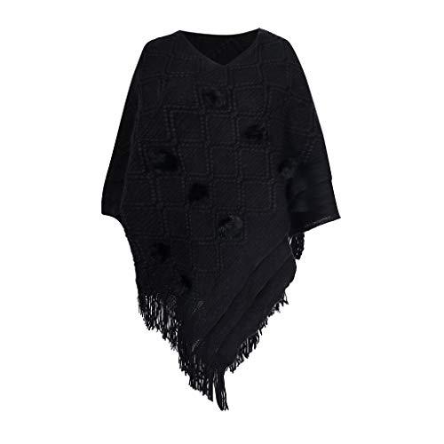 AIEason Chaqueta de Invierno de Chal de Punto de Moda para Mujer diseño de Abrigo de Poncho de Doble Uso