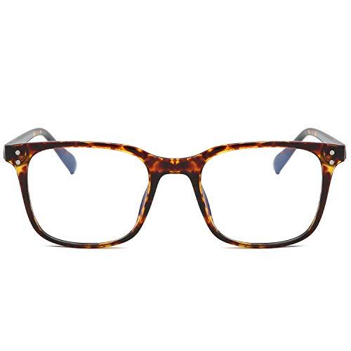 SOJOS Blue Light Blocking Glasses Square Eyeglasses Frame Anti Blue Ray Computer Game Glasses SJ5032 with Brown Tortoise Frame/Anti-Blue Light Lens