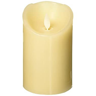 Luminara GLM30401 Flameless Candle: Vanilla Scented Moving Flame Candle with Timer (4  Ivory)