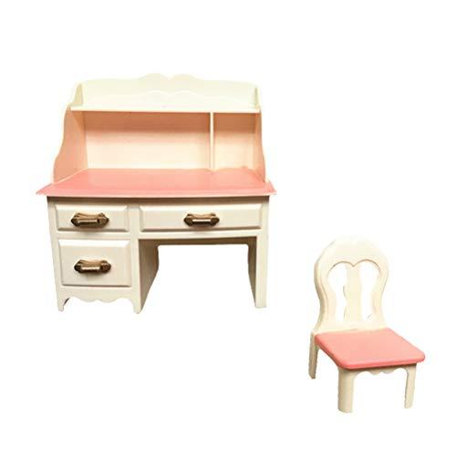 Juego de muebles de casa de muñecas para escritorio y silla, accesorios para aparador, respaldo y respaldo de silla para ordenador portátil, papelería para figuras de acción de casa de muñecas