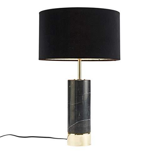 Tischleuchte Marmor - Tischlampe mit Marmorfuß und Textilschirm - Schwarz Gold - Höhe ca. 55 cm