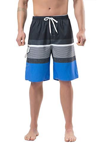 Lncropo Swimming Trunks for Men Quick Dry Striped Men's Boys Swim Trunks Beach Board Shorts with Mesh Lining (B4-Navy, 38)