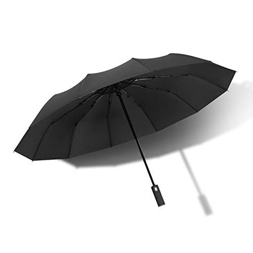 ERCZYO Nueva Completamente automática del Paraguas de los Hombres de Negocios 12 Costillas a Prueba de Viento Grande Paraguas Plegable Paraguas Lluvia Mujeres (Color : Black)