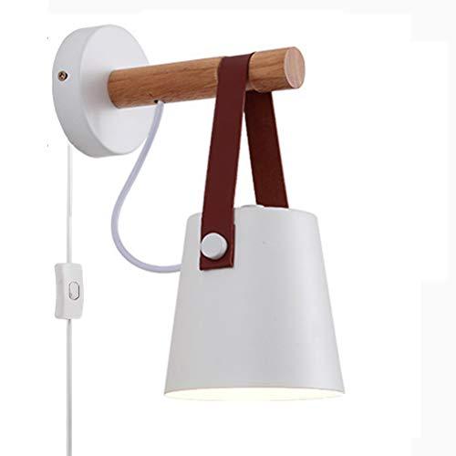 E27 Aplique de madera moderna con interruptor y enchufe Lámpara industrial Lámpara de pared cinturón Lámpara de lectura Lámpara de noche Lámpara de techo tipo loft, para dormitorio sala de estar