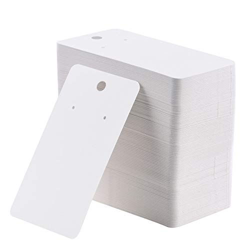 Coopay 200 Pieces Earring Display Card Earring Card Holder Blank Kraft Paper Tags for DIY Ear Studs and Earrings,3.5 x 2 Inches (White)