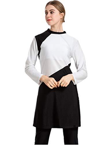 CaptainSwim Neue Muslimische Badebekleidung für Frauen Mädchen Vollständige Abdeckung Burkini Badeanzug Set Islamischer Hijab Bescheiden Strandkleidung Schwimmen Passen Kostüm (Schwarz, 2XL)