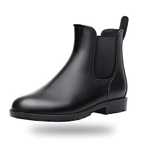 Women Rain boots Waterproof Ankle Garden Shoes Anti-slip Chelsea Booties Black 5.5 B(M) US