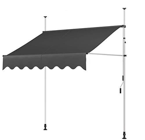 Artall Zoom Toldo para balcón, protección solar con manivela, resistente a los rayos UV, Oxford, altura regulable, tubo galvanizado, sin agujeros, 200 x 120 cm, color gris