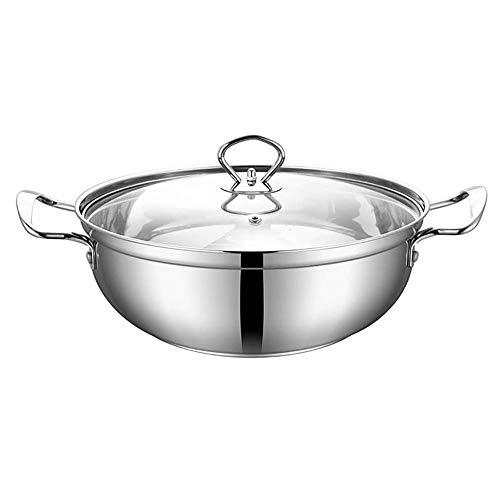 YFGQBCP ollas Cocina Olla, Dos Asas de Acero Inoxidable con Cristal Pot Utensilios de Cocina Tapa, Olla con Calor, a Prueba de Easy Clean, Compatible con Todo Tipo de cocinas (Size : 30cm)