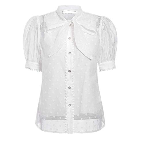 NOBRAND Blusa elegante con pajarita sexy y transparente de lunares para mujer