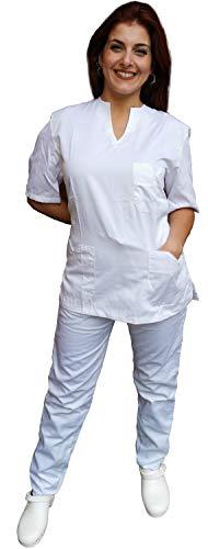 Petersabitidalavoro Divisa Completa Donna da Lavoro Slim-Fit 100% Cotone Made in Italy Infermiera Estetista Benessere Massaggi (m, Bianco)