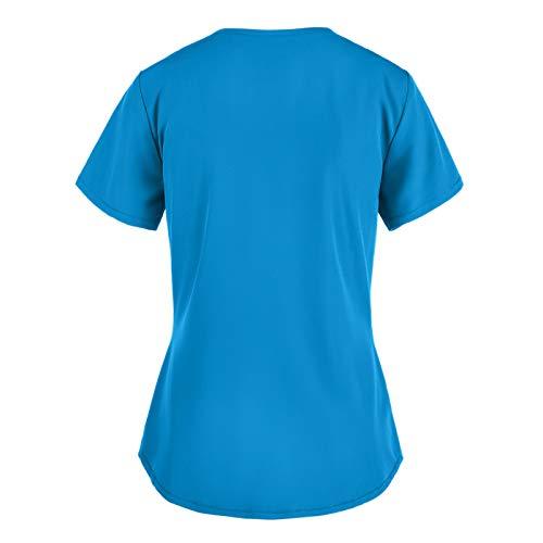 QiFei St. Patrick's Day Krankenhaus Schlupfhemd Bluse Kurzarm V-Neck T-Shirts Mischgewebe Kasack Damen Pflege mit Motiv Bunt Arzt Uniform Berufsbekleidung Krankenschwester Kleidung