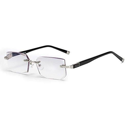 Gafas de lectura Block Blue Light sin bordes, lente de resina de corte de diamante Ultra Clear Vision Block Blue Light alivia la fatiga ocular,+3.5
