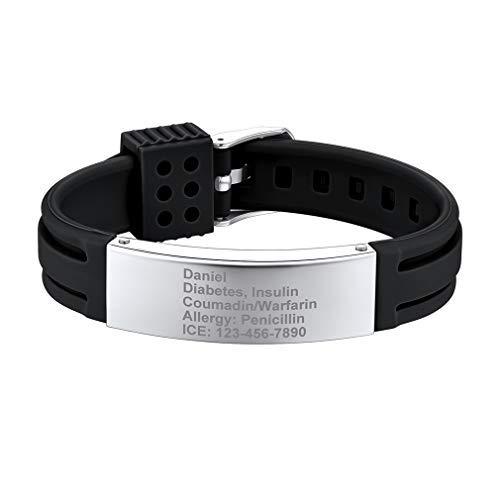 Supcare Pulsera ID con Placa de Identidad Acero Inoxidable y Tira Ajustable de Silicona Negro para Casos de Emergencia Personalización Gratis