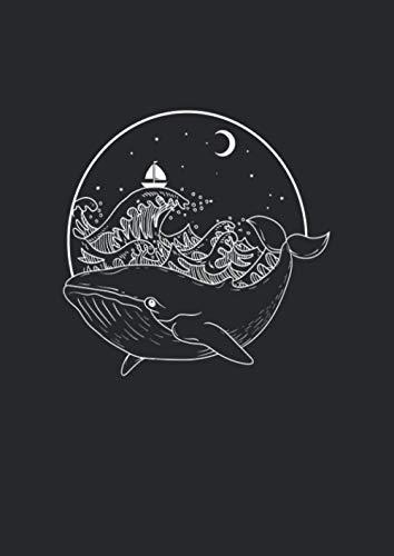 A4 Notizbuch liniert mit Softcover Design: Wal Delfin im Meer Ozean bei Nacht und Mondschein mit Boot: 120 linierte DIN A4 Seiten