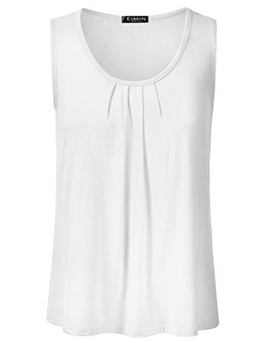 EIMIN Women's Pleated Scoop Neck Sleeveless Stretch Basic Soft Tank Top Ivory 1XL