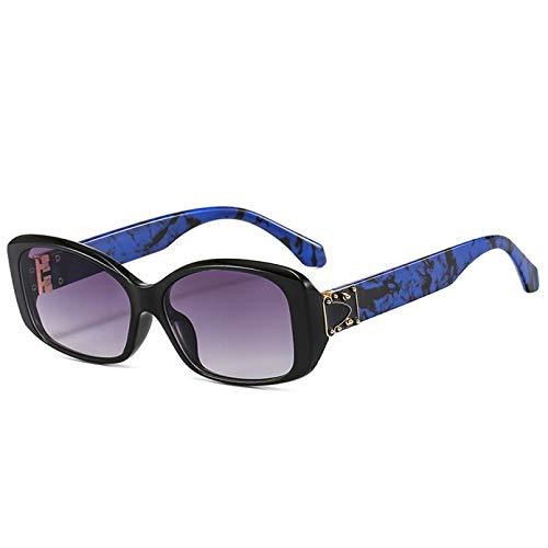 SXRAI Gafas de Sol pequeñas de Moda para Mujer, Gafas ovaladas para Hombre, Gafas Azules y Negras Uv400,C2