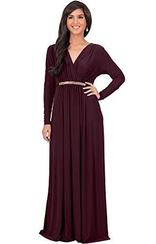 KOH KOH Plus Size Womens Long Sleeve Sleeves Kaftan V-Neck Flowy Formal Wedding Guest Fall Winter Evening Day Empire Waist Abaya Muslim Gown Gowns Maxi Dress Dresses, Maroon Wine Red 2XL 18-20