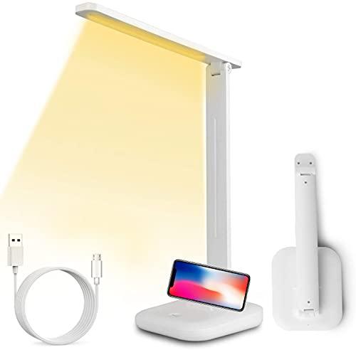 Lámpara de escritorio LED, Sendowtek Lámpara de Mesa Protección de Ojos para Lectura con Plegable Niveles de Brillo Regulables, Control Táctil, Recargable USB y Bajo Consumo para Casa Estudio Oficina