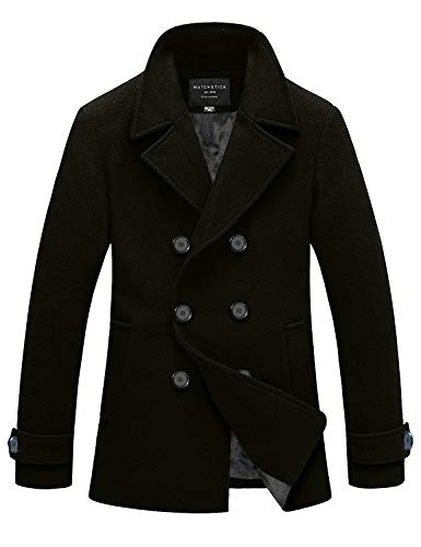 Match Mens Wool Blend Classic Pea Coat Winter Coats(010, Grayish Green X-Large)