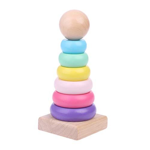 Warme Farbe Regenbogen Stapeln Ring Turm Stapelring Blöcke Holz Kleinkind Babyspielzeug