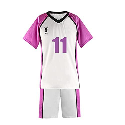 WWZY Shorts et Manches Courtes Haikyuu Anime Shiratorizawa High School Volleyball Club Cosplay n ° 11 T-Shirt Et Pantalon Court Costume Sports Uniforme Homme et Femme,Blanc,3XL