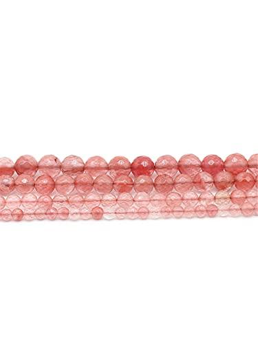 Cuentas de piedra natural facetadas de piedra de turmalina rosa sandía con cuentas espaciadoras sueltas de 4 a 12 mm de hebra de 15 pulgadas para hacer joyas, color rosa, 6 mm aprox