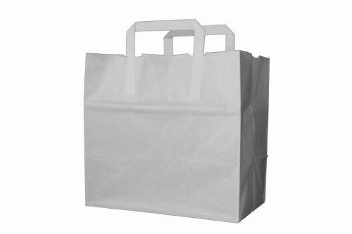 250 Papiertragetaschen Papiertaschen Tüten Papiertüten Tragetaschen weiß 22 + 10 x 28 cm